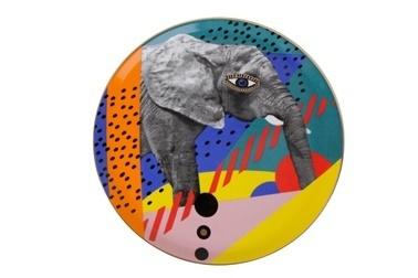 Porland Wild Life Elephant Düz Tabak 28Cm Renkli
